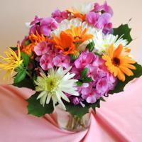 """Холст с красками """"Яркие цветы на столе в вазе"""" (14 цветов)"""