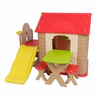 Детский игровой комплекс с домиком и горкой Haenim Toy HN-777, цвет: красный, арт: HT_HN-777