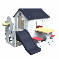 Детский игровой комплекс с домиком и горкой Haenim Toy HN-777, цвет: Navy-White, арт: HT_HN-777
