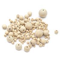 Набор круглых деревянных неокрашенных бусин, 6-30 мм, 168 (+/- 6) штук