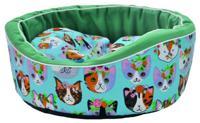 "Лежак для животных Homepet ""Коты"", канвас, 49x43x17 см"