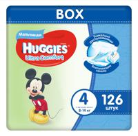 """Подгузники для мальчиков Huggies """"Ultra Comfort Disney Box"""" (4), 8-14 кг, М (Maxi) 126 штук"""