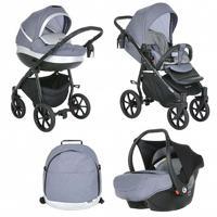 Детская коляска 3 в 1 Tutis Nanni, цвет: серый, кожа серебро, черная рама, колеса гель (автокресло, короб, прогулка)