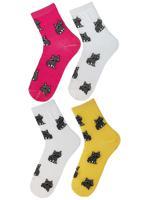 "Комплект женских носков ""Еноты"", цвет: белый, фуксия, желтый, размер: 36-39 (4 пары)"