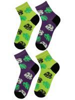 Комплект женских носков, цвет: фиолетовый, зеленый, размер: 36-39 (4 пары)