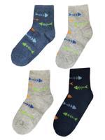 """Комплект детских носков для мальчиков """"Рыбки"""", цвет: серый, синий, голубой, размер: 22-24 (4 пары)"""