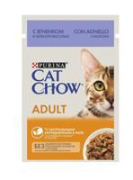 """Консервы для кошек старше 1 года Cat Chow """"Adult 1+"""", ягненок и зеленая фасоль в желе, 36 штук по 85 г (количество товаров в комплекте: 36)"""