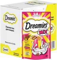 """Набор лакомств для взрослых кошек Dreamies Mix """"Лакомые подушечки"""", с говядиной и сыром, 6 штук по 60 грамм (количество товаров в комплекте: 6)"""