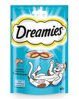 """Набор лакомств для взрослых кошек Dreamies Mix """"Лакомые подушечки"""", с лососем, 6 штук по 60 грамм (количество товаров в комплекте: 6)"""