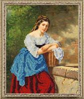 """Набор для вышивания ювелирным бисером """"Девушка с корзиной"""", 15,4х18,8 см, арт. 10119"""