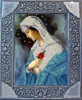 """Набор для вышивания ювелирным бисером """"Дева Мария с розой"""", 9,3х12,4 см, арт. 20918"""