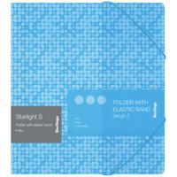 "Папка для тетрадей на резинке ""Starlight S"", А5+, 600 мкм, голубая"