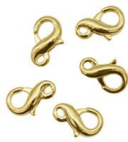"""Замки для бус """"Карабин бесконечность"""", цвет: яркое золото, 12 мм, 5 штук, арт. 4AR2039 (количество товаров в комплекте: 5)"""