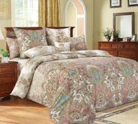 """Комплект постельного белья """"Великолепие 1"""", 2-х спальный с европростынёй, сатин (цвет: бежевый)"""