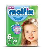 """Подгузники детские 3D Extra Large №6 """"Molfix"""", 15+ кг, 24 штуки"""