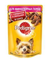 """Упаковка влажного корма для собак миниатюрных пород """"Pedigree"""", говядина с овощами, 24 штуки по 85 грамм (количество товаров в комплекте: 24)"""