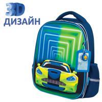 """Ранец """"Юнландия Light. Neon car"""", 2 отделения, 3D панель, 38х29х16 см"""