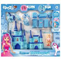 """Игровой набор DollyToy """"Замок принцессы"""", 33х5,4х26 см, кукла 9 см, цвет: голубой"""