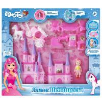 "Игровой набор DollyToy ""Замок принцессы"", 33х5,4х26 см, кукла 9 см, цвет: розовый"