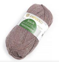 """Набор пряжи для вязания """"Носочная"""", 100 г, 200 м, 10 мотков, цвет 1343 бежево-сиреневый (количество товаров в комплекте: 10)"""