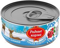 """Консервы для собак Родные корма """"Страна Оления"""" (оленина с клюквой), 100 г"""