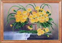 """Рисунок на ткани для вышивания бисером Магия канвы """"Одуванчики в корзине"""", 39х27 см, арт. КС002"""