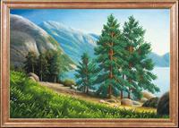 """Рисунок на ткани для вышивания бисером Магия канвы """"Ели на берегу"""", 39х27 см, арт. КС038"""