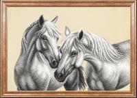 """Рисунок на ткани для вышивания бисером Магия канвы """"Белые лошади"""", 39х27 см, арт. КС063"""