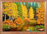 """Рисунок на ткани для вышивания бисером Магия канвы """"Осенняя река"""", 39х27 см, арт. КС022"""