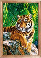 """Рисунок на ткани для вышивания бисером Магия канвы """"Тигр отец"""", 39х27 см, арт. КС087"""
