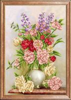 """Рисунок на ткани для вышивания бисером Магия канвы """"Пионово-розовый букет"""", 39х27 см, арт. КС077"""
