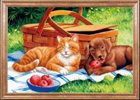 """Рисунок на ткани для вышивания бисером Магия канвы """"Дружба на пикнике"""", 39х27 см, арт. КС090"""