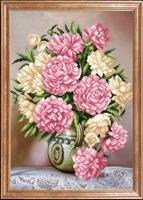 """Рисунок на ткани для вышивания бисером Магия канвы """"Деликатные пионы"""", 39х27 см, арт. КС076"""