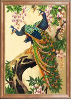 """Рисунок на ткани для вышивания бисером Магия канвы """"Пара павлинов"""", 39х27 см, арт. КС095"""