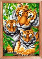"Рисунок на ткани для вышивания бисером Магия канвы ""Тигрица с тигрятами"", 39х27 см, арт. КС097"