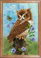 """Рисунок на ткани для вышивания бисером Магия канвы """"Сова с бабочкой"""", 39х27 см, арт. КС107"""