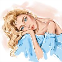"""Холст с красками """"Красивая светловолосая девушка"""" (14 цветов)"""