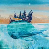 """Холст с красками """"Сказочная лиса и кит"""" (13 цветов)"""