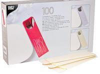 """Куверт (конверт) для столовых приборов, с салфеткой """"Papstar"""", 235х72 мм, 100 штук, цвет: кремовый"""